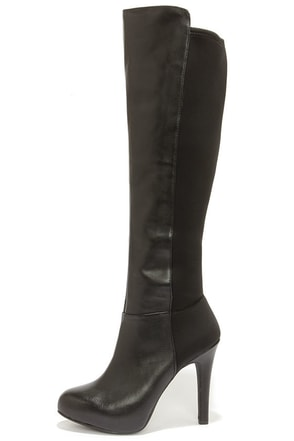 Jessica Simpson Avalona Black Leather Knee High Heel Boots at Lulus.com!