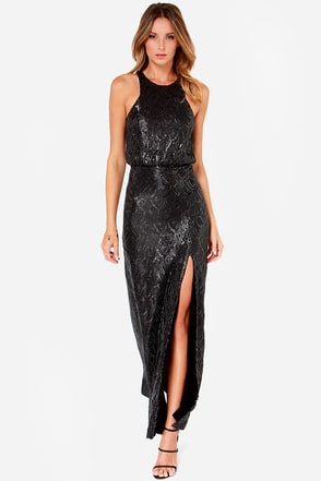 Line and Dot Monroe Black Sequin Maxi Dress at Lulus.com!