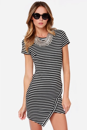 Wilde Heart Earn Your Stripes Black and Ivory Striped Dress at Lulus.com!