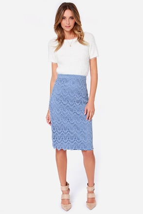 Legs for Days Light Blue Pencil Skirt at Lulus.com!