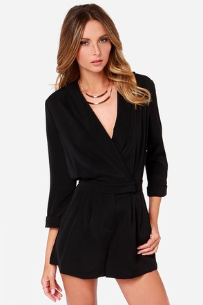 Ardent Admirer Black Long Sleeve Romper at Lulus.com!