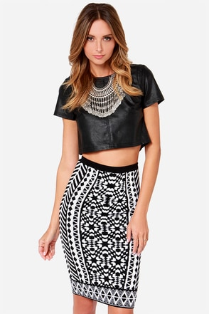 Design Intervention Black and White Print Pencil Skirt at Lulus.com!
