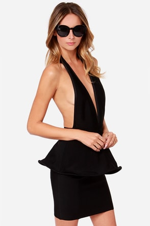 Bariano Bianca Backless Black Peplum Dress at Lulus.com!