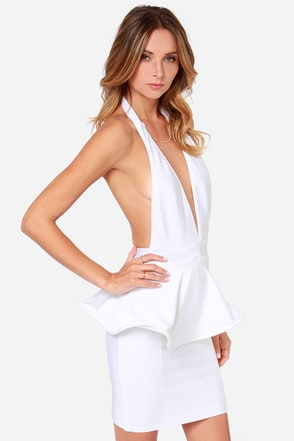 Bariano Bianca Backless White Peplum Dress at Lulus.com!