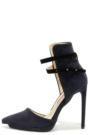 Suede-y Lady Navy and Black High Back Heels at Lulus.com!