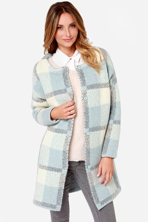 JOA Felt With You Light Blue Plaid Sweater Jacket at Lulus.com!