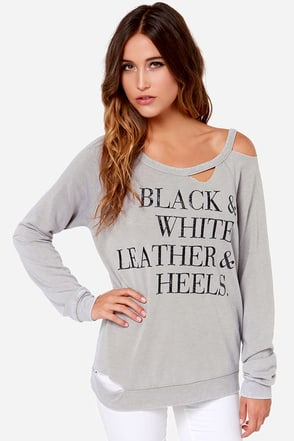 Chaser Leather & Heels Taupe Distressed Sweater at Lulus.com!