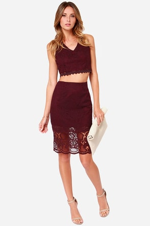 Duo M.G. Burgundy Lace Two-Piece Dress at Lulus.com!