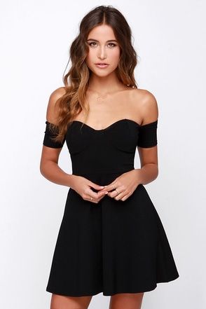 Celebrate Good Times Off-the-Shoulder Black Dress