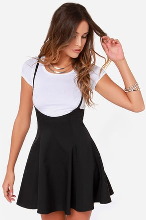 Meet Me Half Way Black Suspender Skirt at Lulus.com!