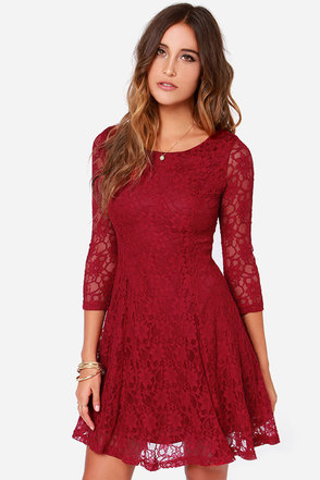 Fine and Dine Wine Red Lace Dress at Lulus.com!