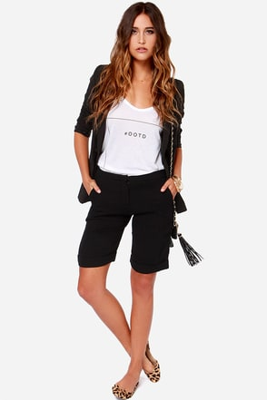 Run the Numbers Black Bermuda Shorts at Lulus.com!