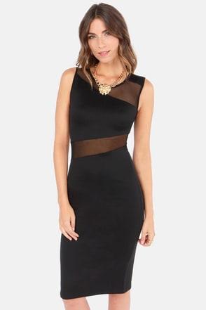 Sexy Black Dress Bodycon Dress Midi Dress Mesh