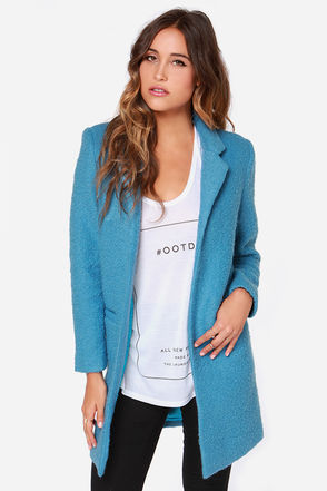 Glamorous Sky Roller Oversized Blue Coat at Lulus.com!