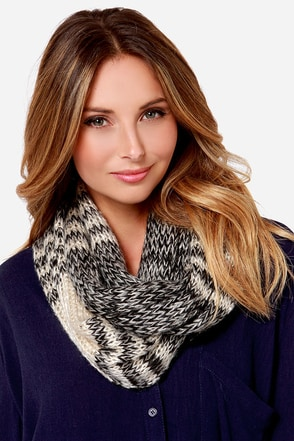 Out After Dark Cream and Black Striped Sequin Infinity Scarf at Lulus.com!