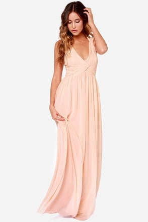LULUS Exclusive Strike a Minerva Peach Maxi Dress at Lulus.com!