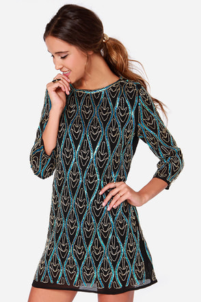 Electric Waves Black and Teal Sequin Dress at Lulus.com!