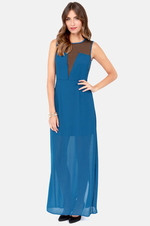 Sheers to You Cutout Blue Maxi Dress