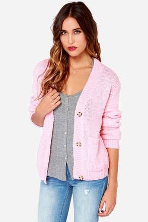 Glamorous Cozy The Riveter Pink Cardigan Sweater at Lulus.com!
