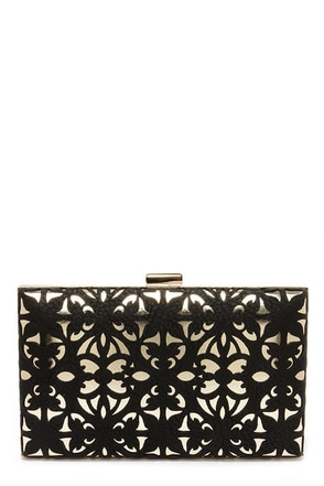 Big Buddha Birdie Gold and Black Cutout Clutch at Lulus.com!