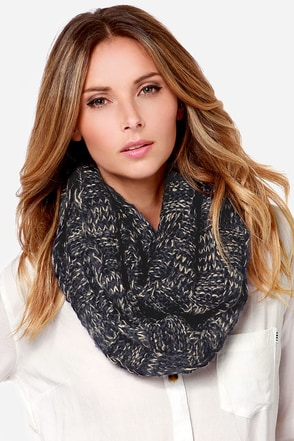 Squared Straight Navy Blue Infinity Scarf at Lulus.com!
