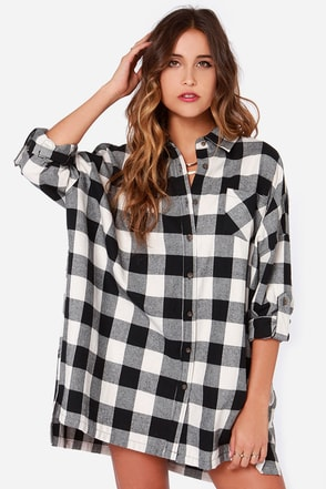 Over and Over Oversized Black Plaid Shirt Dress at Lulus.com!