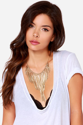 Fringe Riviera Gold Statement Necklace at Lulus.com!