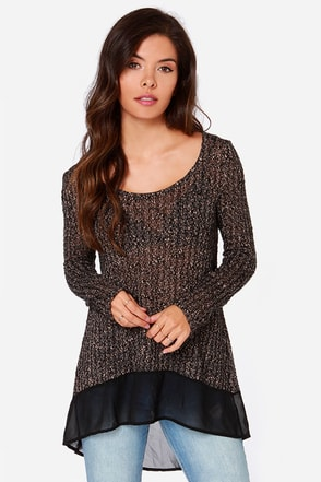 Instant Classic Black and Beige Sweater Top at Lulus.com!