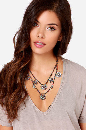 Rooftop View Grey Rhinestone Necklace at Lulus.com!