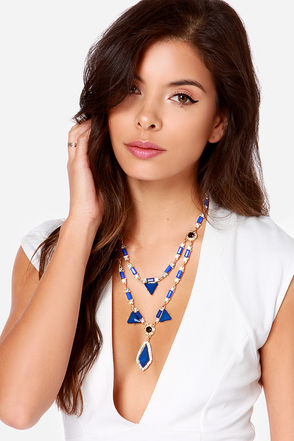 Shape Shifter Blue Rhinestone Necklace at Lulus.com!