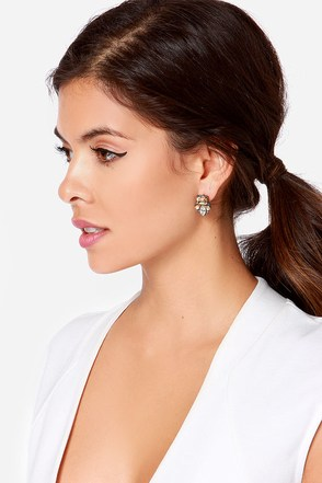 Pause for Reflection Champagne Rhinestone Earrings at Lulus.com!