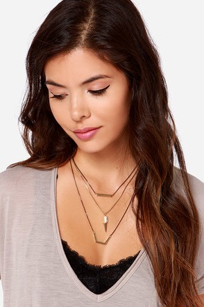 Mixed Metal Emotions Black and Gold Layered Necklace at Lulus.com!