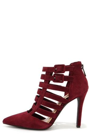 Jessica Simpson Carmody Oxblood Kid Suede Caged Heels at Lulus.com!