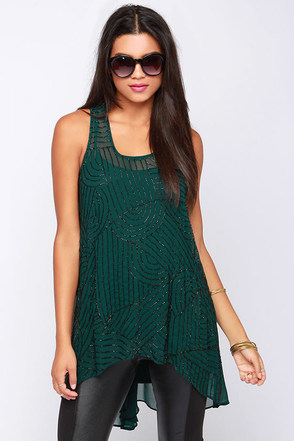 Crop Circles Beaded Dark Green Tunic Top at Lulus.com!