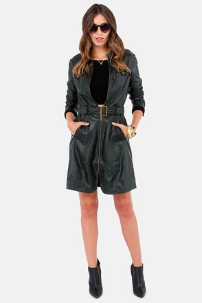Special Agent Midnight Green Vegan Leather Trench Coat