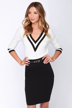 Spell Chic Ivory Pencil Skirt at Lulus.com!