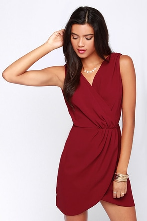Rapt Attention Wine Red Wrap Dress at Lulus.com!