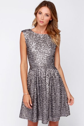 Midnight Mood Grey Sequin Dress at Lulus.com!