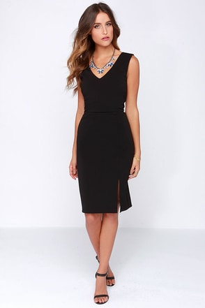Debutante Dreams Black Midi Dress at Lulus.com!