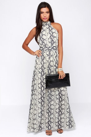 Reptilian to One Navy and Cream Print Maxi Dress at Lulus.com!