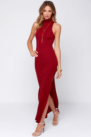 LULUS Exclusive As the World Curves Wine Red Maxi Dress at Lulus.com!