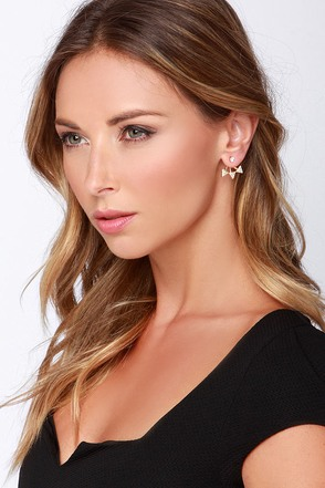 Your Point Gold Rhinestone Ear Jackets at Lulus.com!