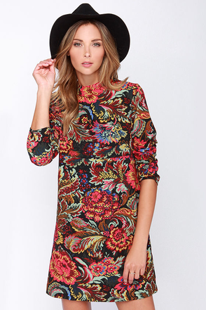 Near and Far Out Black Floral Print Dress at Lulus.com!