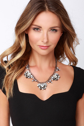 Nifty Display Blue Rhinestone Necklace at Lulus.com!