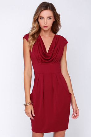 On the Boardwalk Burgundy Dress at Lulus.com!