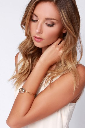 Threes and Thank You Gold Rhinestone Bracelet at Lulus.com!