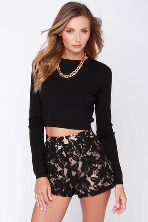 Cute Black Shorts Lace Shorts High Waisted Shorts 38 00