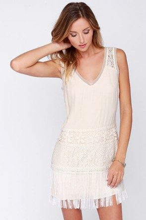 Begin to Bo-Hope Cream Fringe Dress at Lulus.com!