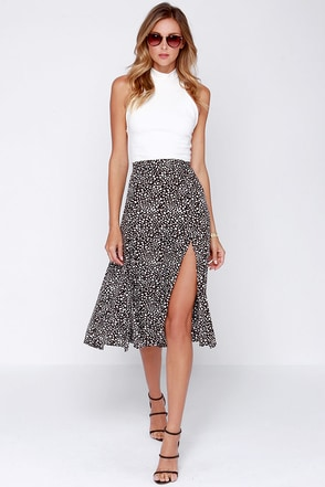 Somedays Lovin' Prana Black and White Print Midi Split Skirt at Lulus.com!