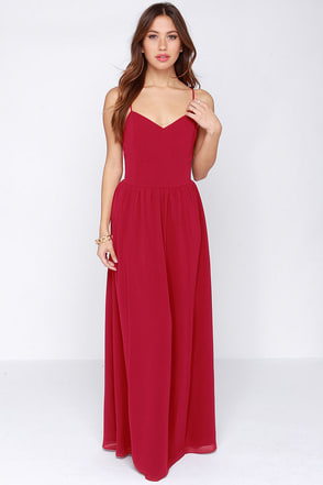 Director's Cut Berry Red Maxi Dress at Lulus.com!